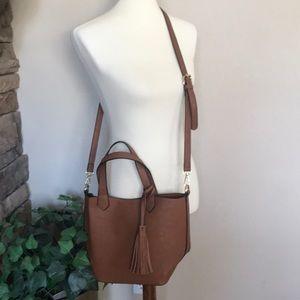 Handbags - Tan Cognac Purse Handbag Shoulder Bag w/ Pouch